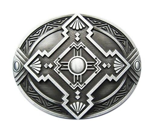 Herren Silber Gürtelschnalle (Gürtelschnalle Celtic Keltisch Schild Wikinger Kreuz 3D Optik für Wechselgürtel Gürtel Schnalle Buckle Modell 243 - Schnalle123)
