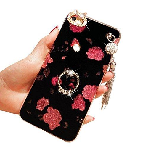 Cover per iPhone 5 5S SE Diamante , Custodia per iPhone 5S,Bonice Bling Glitter Full Body Lusso Cristallo Strass Morbida Rubber [Rotazione Grip Ring Kickstand] con Supporto Dellanello Shock-Absorptio Modello 03
