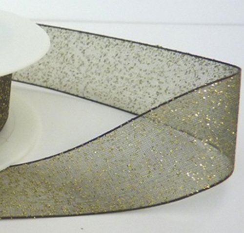 Gewebte Satin Ribbon Trim (1Meter Trim von Organzaband, gewebter Rand mit Glitter 25mmx20m Green with Gold)