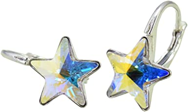 Crystals & Stones *STERN* VIELE Farben - 925 Silber Schön Ohrringe Mädchen Damen Ohrhänger mit Kristallen von Swarovski Elements - Wunderbare Ohrringe mit Schmuckbox