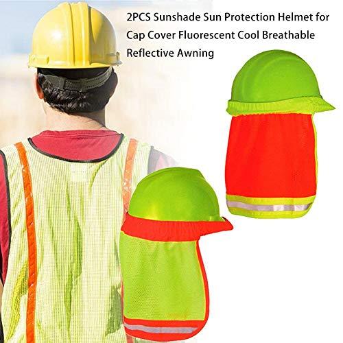 raspbery 2PCS Schutzhelm Sonnenschutz, Sonnenschutz Vollrand Mesh Sonnenschutz Hohe Sichtbarkeit, Sonnenschutzhelm für Cap Cover Fluorescent Cool Atmungsaktiv Reflective Markise - Gelb -