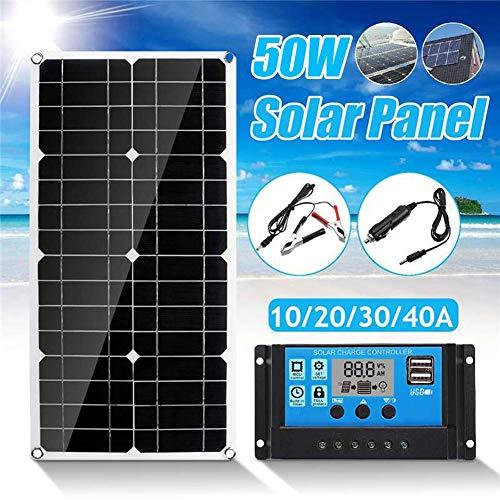 Panel Solar Portatil Cargador Solar 50W con 2 USB de Salida Puertos 5V / 18V para Teléfonos, MP3, Tabletas U Otros Cargadores USB (540 280 2.5mm)