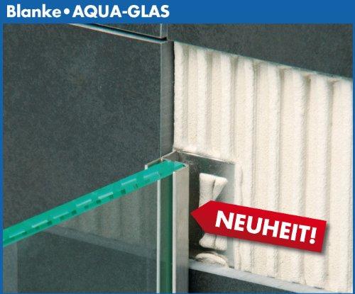 Blanke Aqua-Glas Edelstahl Glashalteprofil 210cm (Edelstahl gebürstet)