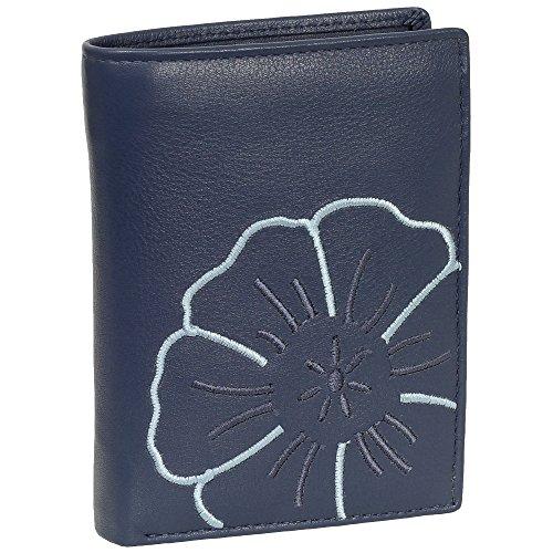 Branco Leder Geldbörse Portemonnaie Damenbörse Damen Geldbeutel blau - sehr hochwertig - Hochformat