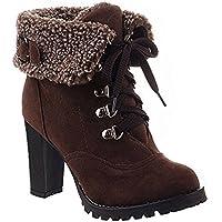 Minetom Donna Inverno Moda Tacco Alto Stivali Corti Faux Foderato Pelliccia Confortevole Martin Boots