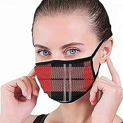 Masque de Bouche Abstrait écossais écossais de Tartan de Nouvel an de Noël, Masque Facial de Boucle d'oreille Adulte Unisexe