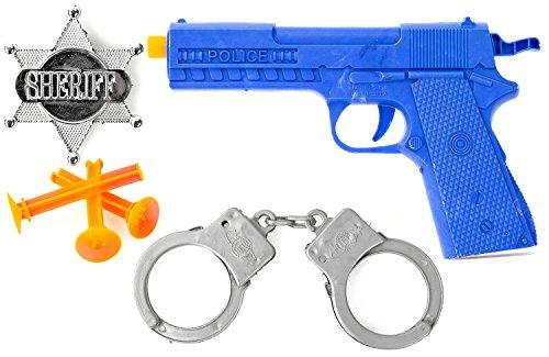 Nerd Clear Polizei-Set für Kinder Pfeil-Pistole, Sheriff-Stern und Handschellen Spielzeug für Karneval und Fasching Kostüm Zubehör