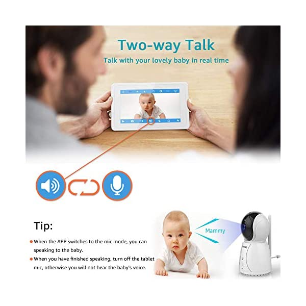 "BIGASUO Video Baby Monitor 2018 with Camera & 720P 7"" HD LCD Digital Screen, Two Way Audio & 5 Baby Lullabies, Sound & Movement Alarm, Night Vision, Wireless Video Baby Monitor BIGASUO 【7'' Large Color LCD Display】The BIGASUO baby monitor offer you the clearest visual experience with the 7'' high-quality LCD HD screen and 2.4G HZ WiFi connection technology. 【5 Built-in Lullabies and Night Vision】Gentle lullabies help baby get into sweet dreams soon. View your baby and the room in low light even dark surroundings. 【Two-way audio communication】You can use the speaker of our baby monitor to talk to your cute baby and hear their replies at any time. 7"