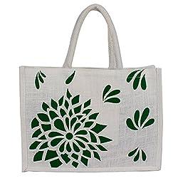 Utsav Kraft Green Floral Print on Premium White background Designer Jute Bag, 38*28*10 cm