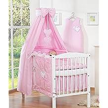 dosel de tela para cama infantil diseo de corazones color rosa