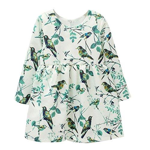 squarex Kleider für Kleinkinder, Mädchen, Blumen, Vögel, Lange Ärmel, Kinder, grün, 7-9 Jahre