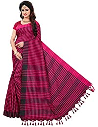 KRISHNA ENTERPRISE.. Cotton Silk Saree With Blouse Piece (LINEN COTTON_Pink And Black_Free Size)