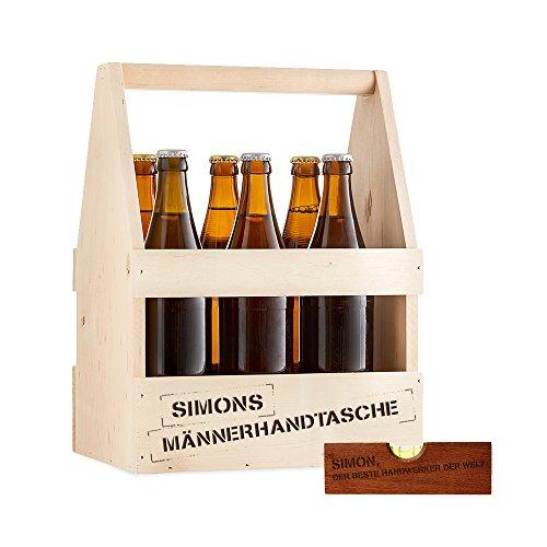 Flaschenträger und Flaschenöffner mit Gravur – 2er Set – Personalisiert mit Namen – Träger aus Holz für 6 Flaschen als Männerhandtasche - Öffner als Wasserwaage – Männergeschenke