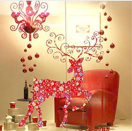 Meaosy 60 * 90 Cm Weihnachten Schneeflocke Hirsch Umweltschutz Stick Wandkunst Aufkleber Wandhaupt Room Decor Wand Sticke