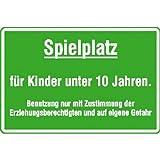 Spielplatzschild Spielplatz für Kinder unter 10 Jahren, Alu, 60x40 cm