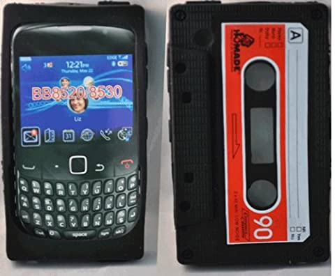 Phonedirectonline- Black Cassette silicone case cover pouch for Blackberry curve