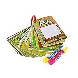 AOLVO Acqua Disegno di Alfabeto schede Flash Acqua colorante Doodle Carte 26Pezzi con 2Magic pens- Lettera Graffiti Cards Cognitive Toys–Riutilizzabile–Animals–Words–No Mess Alphabets Set