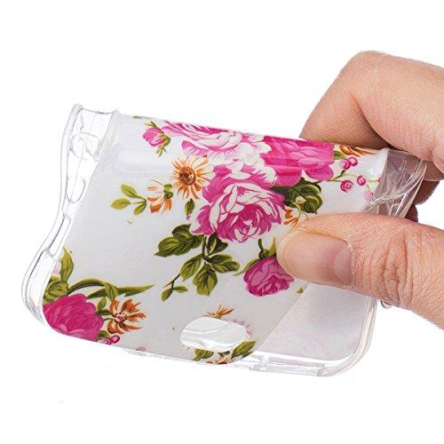 iPhone 5S Hülle, iPhone SE Hülle, Gift_Source [ Pfirsich Blume ] Hülle Case Transparent Weiche Silikon Schutzhülle Handyhülle Schutzhülle Durchsichtig TPU Crystal Clear Case Backcover Bumper Case für  E1-Pfingstroseblume