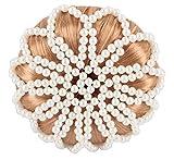 Horka Dutt-Haarnetz mit Perlen, Damen, Mädchen, Reit-Wettbewerb-Zubehör, cremefarben, Einheitsgröße