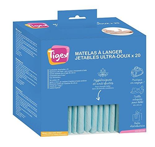 Tigex Protections Jetables pour Matelas à Langer, Blanc, Lot de 20