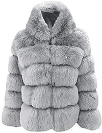 OSYARD Manteaux Femme Hiver Coat Fausse Fourrure Fox à Capuche Parka  Blousons Court Gilet Patchwork Cardigan 26f93c51777c