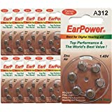 Hörgerätebatterie in der Größe 312 EarPower   Gelbe Braun   60 Batterien für Hörgeräte Hörhilfen Hörverstärker