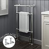 iBathUK | 6 Column Traditional Heated Towel Rail Bathroom Radiator + Valves - All Sizes