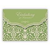 Frische Einladungskarte mit Vintage Damast Muster in Frühlings grün für Mädchen: Einladung zur Kommunion