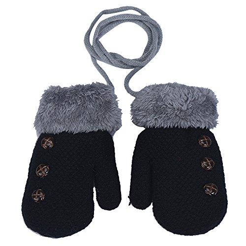 XXYsm Baby Fäustling Handschuhe Winter Säugling Unisex Einfarbig Gloves mit Band Taste Plüsch Schwarz (Baby-fäustlinge Mit Bändern)