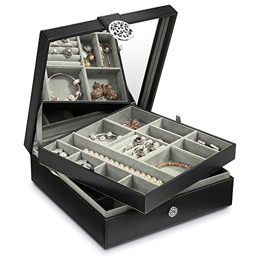 Cozzine Jewelry Box, Jewelry Organizer, Women's Jewelry Box for Necklaces, Earrings, Bracelets, Rings, Etc. Jewelry Storage Box for 2 Layers with Big Mirror, PU Leather, Black