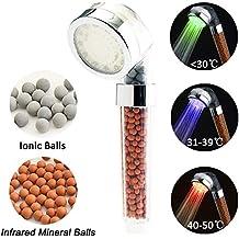 Cabezal de Ducha LED,BeautyPO Alta Presion Iónico Alcachofa de Ducha de Mango Temperatura de controladas 3 Cambio de color,30% Ahorro de Agua para Baños