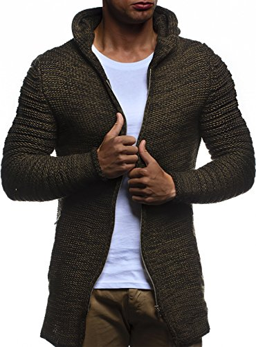 LEIF NELSON Herren Jacke Hoodie Strickjacke Pullover Kapuzenpullover Jacke Sweatjacke Zipper Sweatshirt Strick LN20731; Gr_¤e XL, Khaki