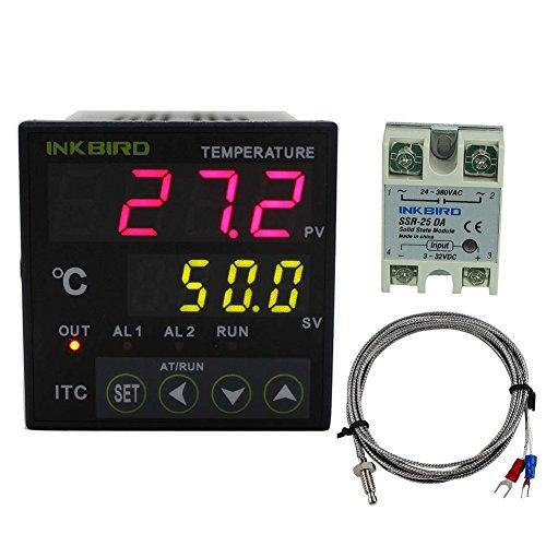 Inkbird Dual Digitale Temperaturregler Thermostat Thermoelement PID Temperature Controller 220V ITC-100VH Mit 25A SSR Solid State Relais Mit K sensor