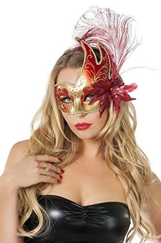 Venezianische Halbmaske mit Federn Gold/Rot (Rote Halbmaske Mit Federn)