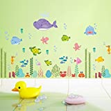 Bodhi2000® Sea World Wall Sticker DIY Removable Fish Water Wall Decal Mural Kid's Nursery Bedroom Bathroom Decor