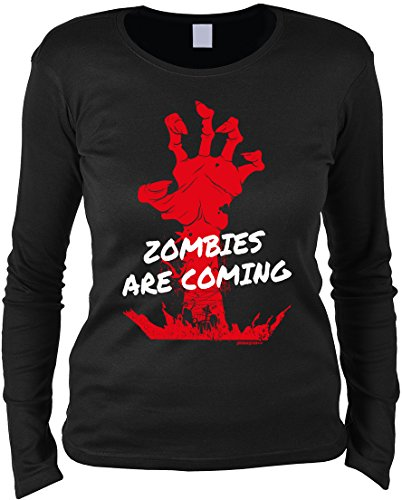 Gruseliges Halloween Fun Langarmshirt Damen - Zombies are coming - T-Shirt Unisex, Farbe: (Kostüme Halloween Minute Last Zombie)