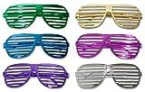 12 x Partybrille Metallic Atzenbrille Shutter Shades Party Gitter Brille Karneval