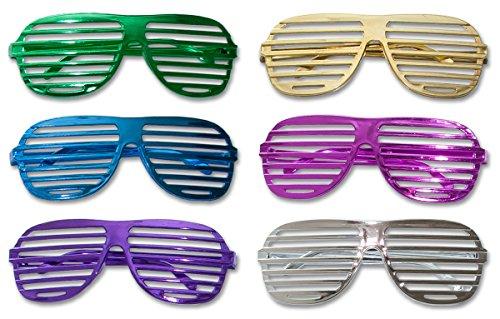 12 x Partybrille Metallic Atzenbrille Shutter Shades Party Gitter Brille Karneval (Shutter Shade Brille)