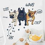 Hauseinrichtungssimulation französische Bulldogge Wandaufkleber Wohnzimmer Schlafzimmer kreative Knochen Kinder Zimmer Poster an der Wand