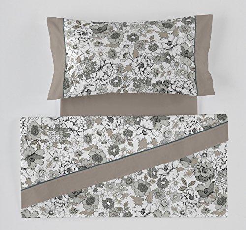 ES-Tela - Juego de sábanas Estampadas Erica Color Gris 4 Piezas - Cama de 150 cm. - 50% Algodón/50%...