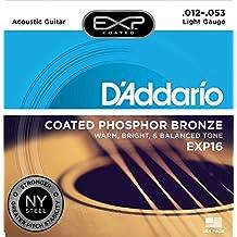 D'Addario EXP16 - Juego de cuerdas para guitarra acústica de fósforo/bronce, 012' - 053'