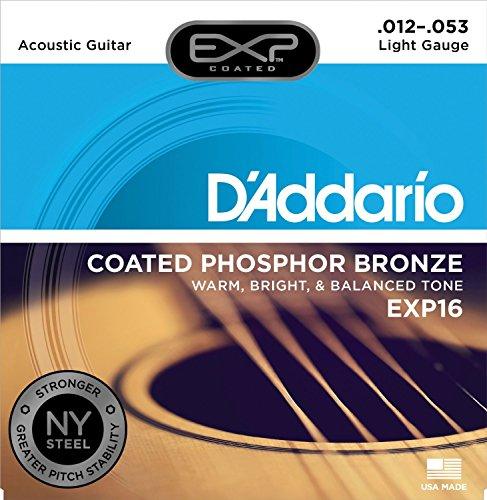 D'Addario EXP16 mit NY Steel Phosphor Bronze Akustikgitarrensaiten beschichtet leicht, 12-53