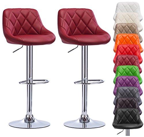 Barhocker 2er-Set, Bordeaux, Barstuhl mit Rücklehne und verchromte Fußablage, Sitzfläche aus Kunstleder, drehbare und höhenverstellbare Barsessel, BH23bd-2