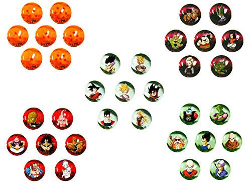 Dragonball Z marbres, collection complete 35 boules de verre de 22mm