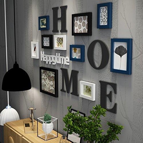 Cadre Photo organiser Collage de cadre photo Ensemble de bois massif Salon Cadre photo Cadre mural créatif Décoration murale de fond (Couleur : Bleu)