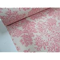 Confección Saymi - Metraje 2,45 mts. tejido loneta estampada Toile de Jouy Ref. Romantica Rosa, con ancho 2,80 mts.
