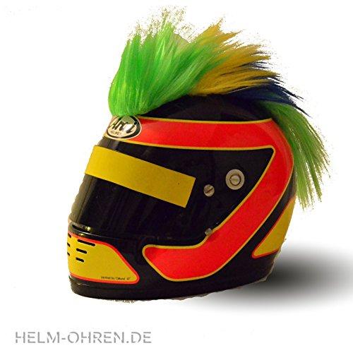 Helm - Irokese für den Motorradhelm, Skihelm, Snowboardhelm, Fahrradhelm oder Kinderhelm - Coole Helmdeko / Irokesenaufsatz - Helmirokese Punk Iro (Grün-Gelb-Blau)