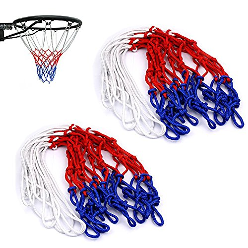 Gankarii® 2 Pcs 12 Loop Standard Strong and Durable Nylon Braided Multicolor Basketball Net for Outdoors or Indoors Sports (Red, White and Blue) Test