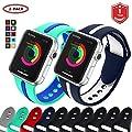 FunBand Armband Sport Strap für Apple Watch,Bunt Gemütlich Weiches Silikon Armband Band Einstellbar Armband für Apple Watch Serie 4,Serie 3, Serie 2, Serie 1 von FunBand bei Outdoor Shop