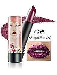 ROPALIA Rouge à Lèvres Métallique Glitter Shimmer Mat Longue Tenue (Grape Purple)